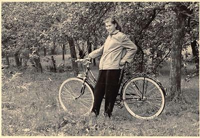 REAL PHOTO Postcard German Girl 1956 with New Bicycle BULLENHAUSEN Germany