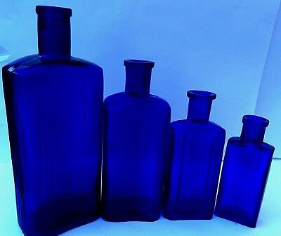 Stunning Group Of4  Blue Poison Not To Be Taken Bottles