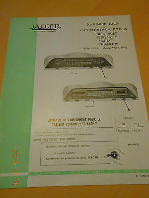 documentation  JAEGER équipements  SIMCA 1955 1961