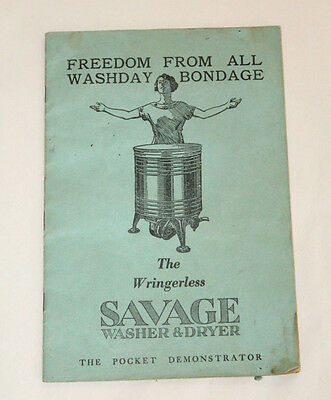 Vintage Savage Washer & Dryer Owners Manual 16 Pages Mid Century