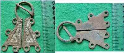 § Viking Age - Bronze Fibula  790-1100 Ad - With Rings & Dot Designs (#14)
