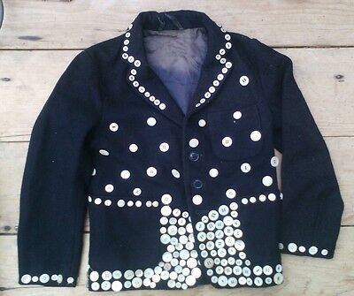 Antique vintage Childs PEARLY KING JACKET boys mother of pearl buttons 1950s 60s