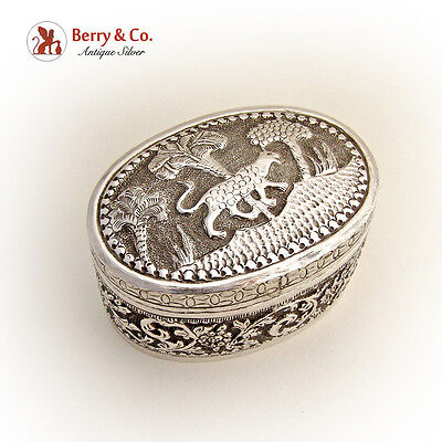 Asian Oval Box Hand Chased Leopard Trees Sterling Silver 1900