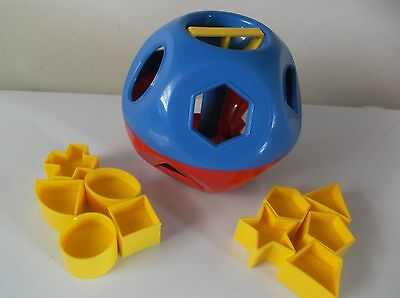 Vintage Tupperware Shape O Ball, Red & Blue, With All 10 Shapes