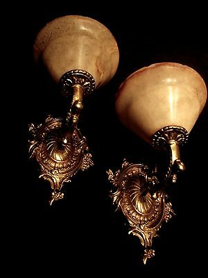 wall lights fixture bronze & white alabaster no brass
