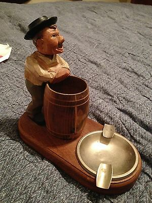 Hand Carved & painted Wooden Ashtray Man leaning on barrel ANRI needs repair