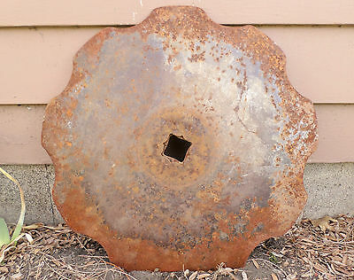 Antique Vintage Metal Farm Implement Disc Plow Blade Barn Primitive Garden Art!