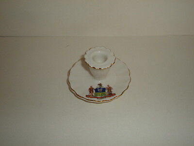 Sheffield Crested Ware  China Candle Holder - Excellent Condition