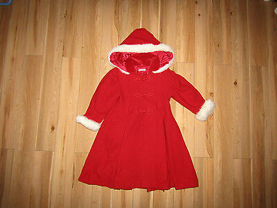 Little Darlings by Paula Finnerty, red pure new wool Christmas coat 6 years.