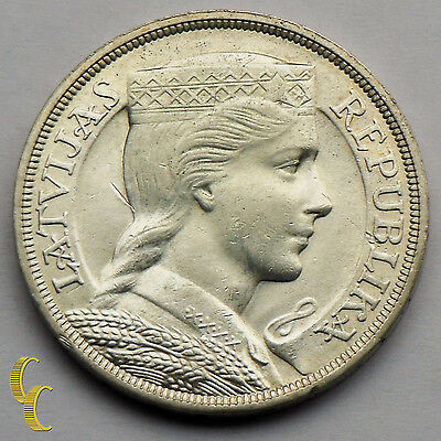 1931 Latvia 5 Lati Silver Coin in BU KM# 9