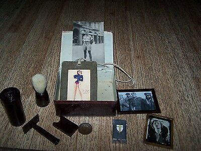 WW2 British army Soldiers personal items in tin box