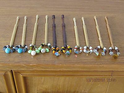 5 Pairs Of Wooden Lace Bobbins Spangled With Glass Beads