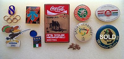 Lot of different Sports football, olympic, etc. Pins, badgen.