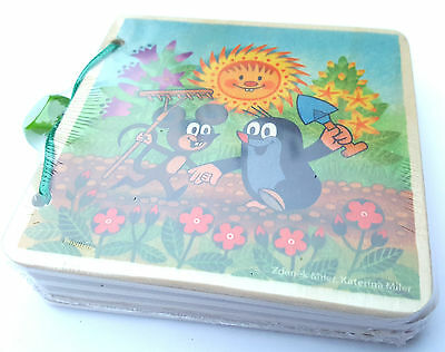 Little Mole in a garden four wooden pages picture book for 1+ by Detoa 13899