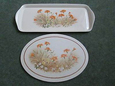 Vintage St Michael Snack Tray + Casserole Stand - Field Flowers -New