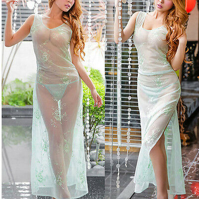 Luxurious Embroidery Mesh See-through Long Nightdress 3 Colors Chemise