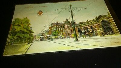 Old postcard railway station leicester posted 1905 crease