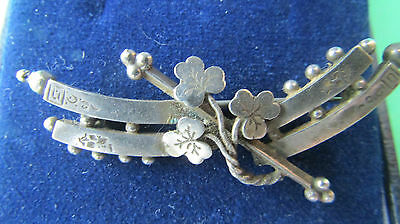 AN ANTIQUE SOLID SILVER SWEET HEART BROOCH 1800's