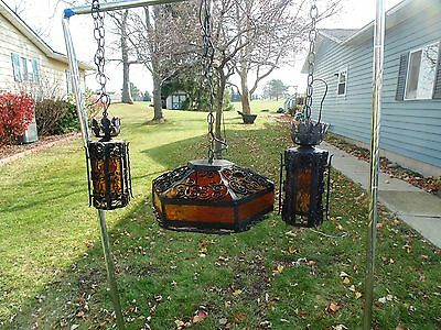 Gothic Spanish Revivial  Arts & Craft  Chandelier Matched Swag Sconce 3 Piece