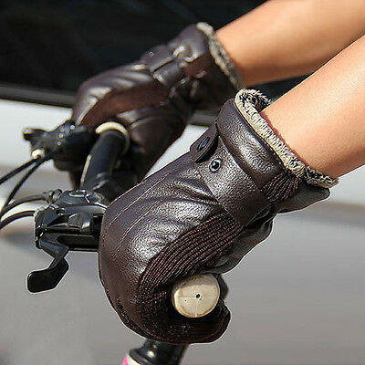 Men PU Leather Thick Warm Outdoor Riding Bicycle Gloves Motorcycle Electric Car
