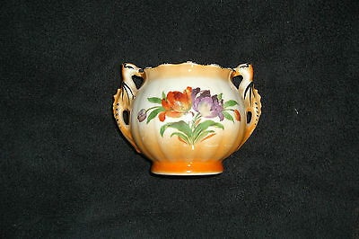 Antique pottery two handled sugar bowl