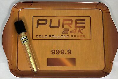 Bundle - 2 Items: Pure 24k™ Gold Rolling Papers 1 King Size Cone, 1 Rolling Tray
