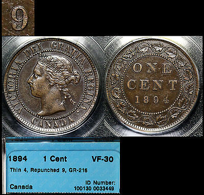 XMAS SALE! - CANADA - Large Cent - 1894 - 9 over 9 Variety - VF30