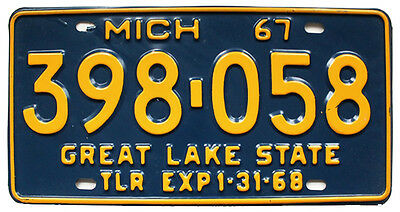 Vintage Michigan 1967 Trailer License Plate, Unused, Airstream Shasta Kenskill