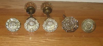 Vintage Mixed Lot Glass Door Knobs - 2 Sets and 3 individual Glass Knobs