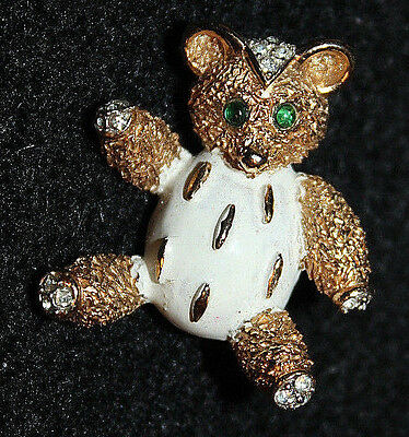 Adorable Crown Trifari Signed Enamel Bear Pin Excellent And Stunning!!