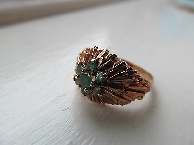 9ct Gold and emerald retro 70's? ring starburst 3 grams