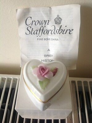 Vintage Crown Staffordshire Heart Trinket Box