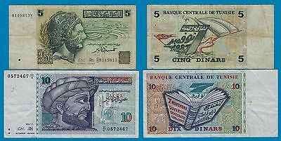 Tunisia - 5 and 10 Dinars Banknotes 1993 + 1994 used    (18481