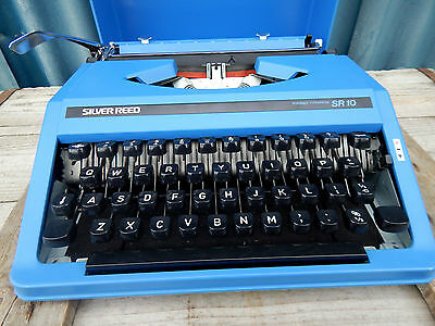Vintage Retro Silver Reed Portable Typewriter SR10 - Blue - Silver Seiko Japan