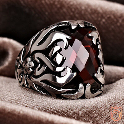 NEW Unique 925 Sterling Silver Handmade Ottoman Men's Ring Flower Ivy Ruby Stone