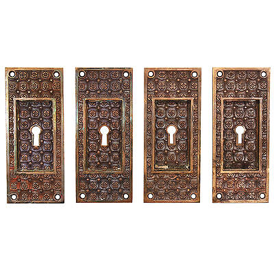 "Antique Cast Bronze ""Madras"" Pocket Door Plates by Yale & Towne, 4 Avail, NPDP53"