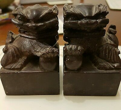 Antique good pair of Chinese Foo Dogs Shi