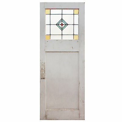 "Salvaged 30"" Door with Stained and Leaded Glass, NED548"