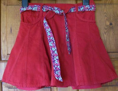 Monsoon girls skirt age 8 - 10 red corduroy floral belt