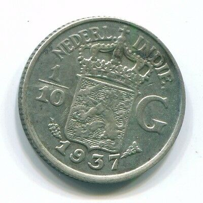 1937 Netherlands East Indies 1/10 Gulden Silver Colonial Coin Nl13467#3