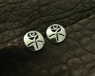 Pair of Vintage Mackintosh Style Rose Design Stud Earring in 925 Sterling Silver