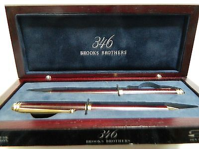 Brooks Brothers 346 Wooden Pen And Pencil Set With Case/new