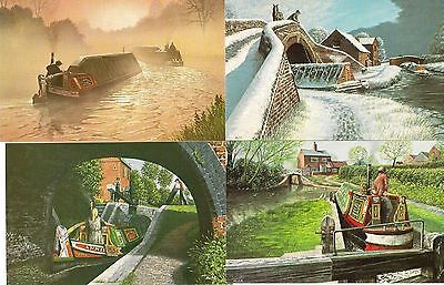 4 Artist drawn Canal Postcards by Alan Firth