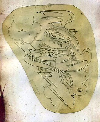 SAILOR JERRY COLLINS acetate stencil TATTOO hand etched SIGNED bongo dragon
