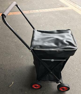 Folding Shopping Jeep Trolley Cart 4 Wheel Vinyl Covered Can Send Within Aust