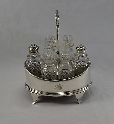 Antique George Iii Solid Sterling Silver Six Bottle Cruet Stand - John Emes 1802