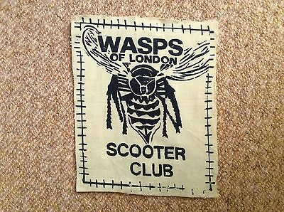 Vintage 1982 WASPS OF LONDON SCOOTER CLUB Patch Badge Mods LAMBRETTA VESPA