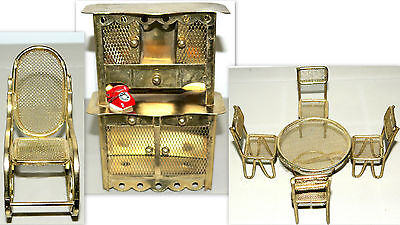 "Lot Doll House 4"" Furniture Brass Kitchen Table + 4 Chair + Armoire+ Rocking ..."