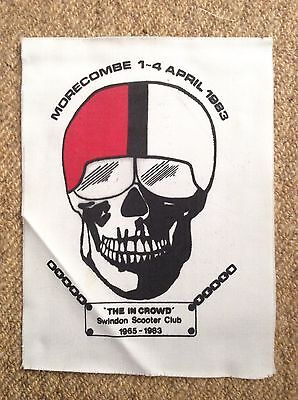 Vintage 83 THE IN CROWD SKULL MORECAMBE SCOOTER RALLY Patch Mods LAMBRETTA VESPA