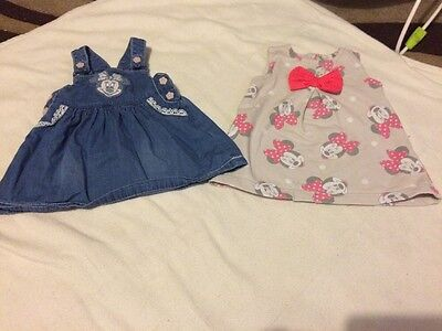 Set Of 2 Baby Girls Minnie Mouse Disney Dresses 3-6 Months